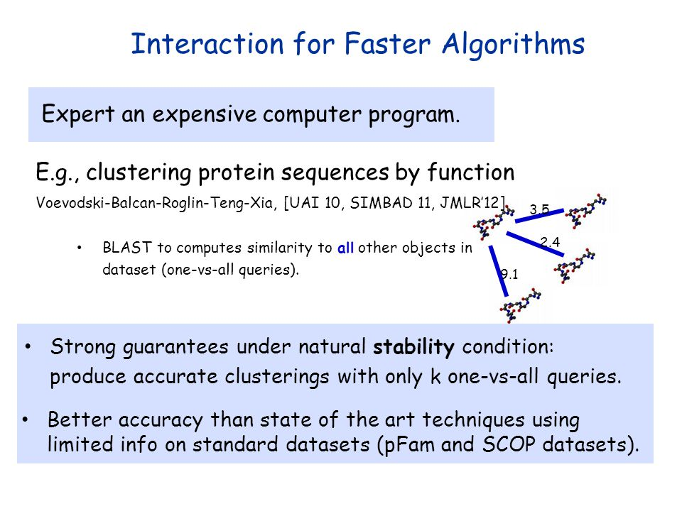 3.5 2.4 9.1 Interaction for Faster Algorithms E.g., clustering protein sequences by function Expert an expensive computer program. Voevodski-Balcan-Ro
