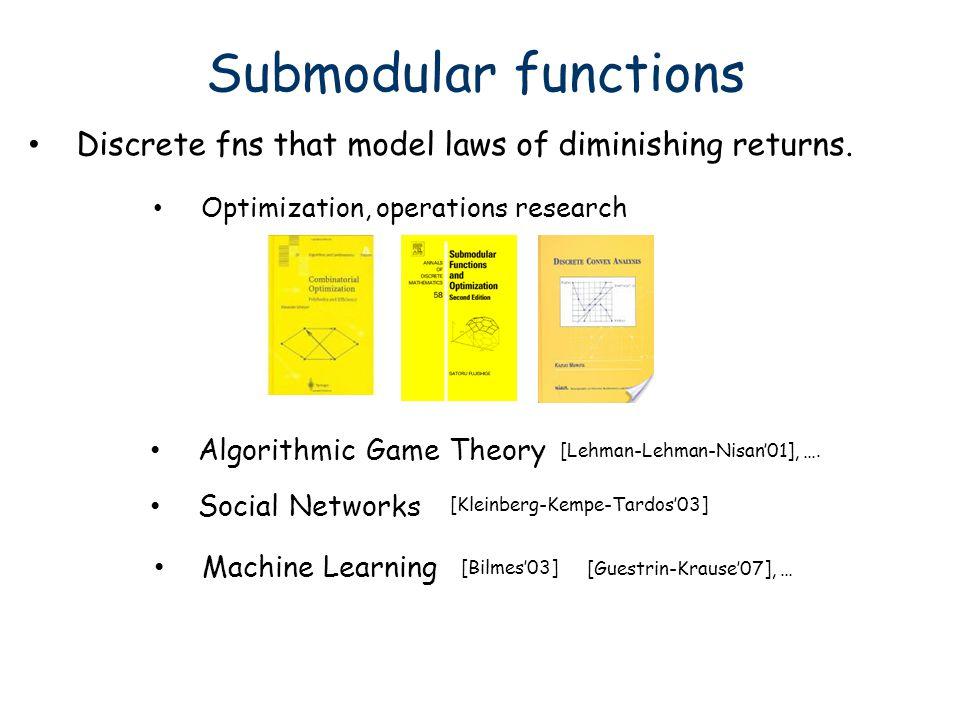 [Balcan&Harvey, STOC 2011 & Necktar Track, ECML-PKDD 2012] Novel structural results New Lenses on Submodularity Learning Submodular Functions Alg.
