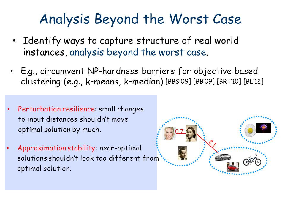 Analysis Beyond the Worst Case Identify ways to capture structure of real world instances, analysis beyond the worst case. E.g., circumvent NP-hardnes