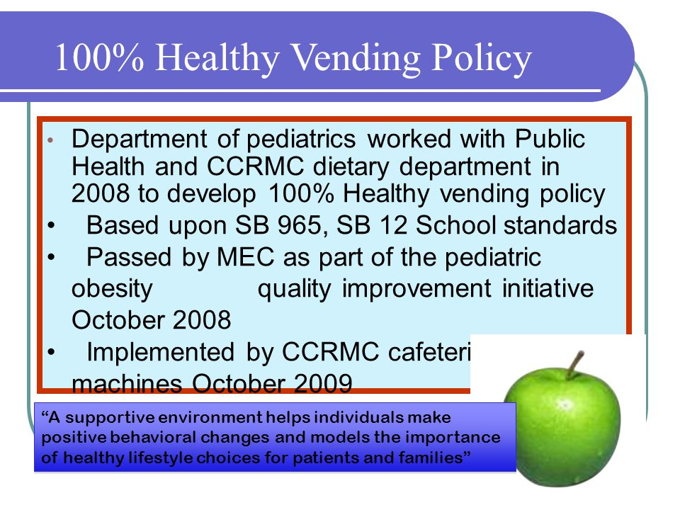 Department of pediatrics worked with Public Health and CCRMC dietary department in 2008 to develop 100% Healthy vending policy Based upon SB 965, SB 12 School standards Passed by MEC as part of the pediatric obesity quality improvement initiative October 2008 Implemented by CCRMC cafeteria vending machines October 2009 100% Healthy Vending Policy A supportive environment helps individuals make positive behavioral changes and models the importance of healthy lifestyle choices for patients and families