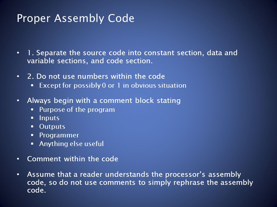 Proper Assembly Code 1.