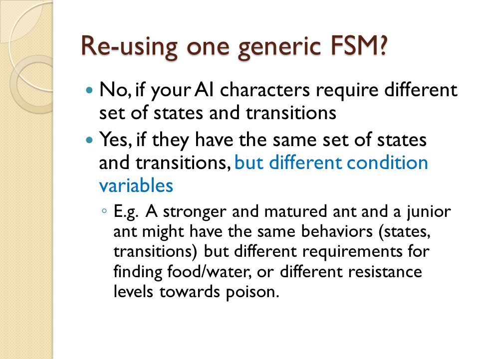 Re-using one generic FSM.