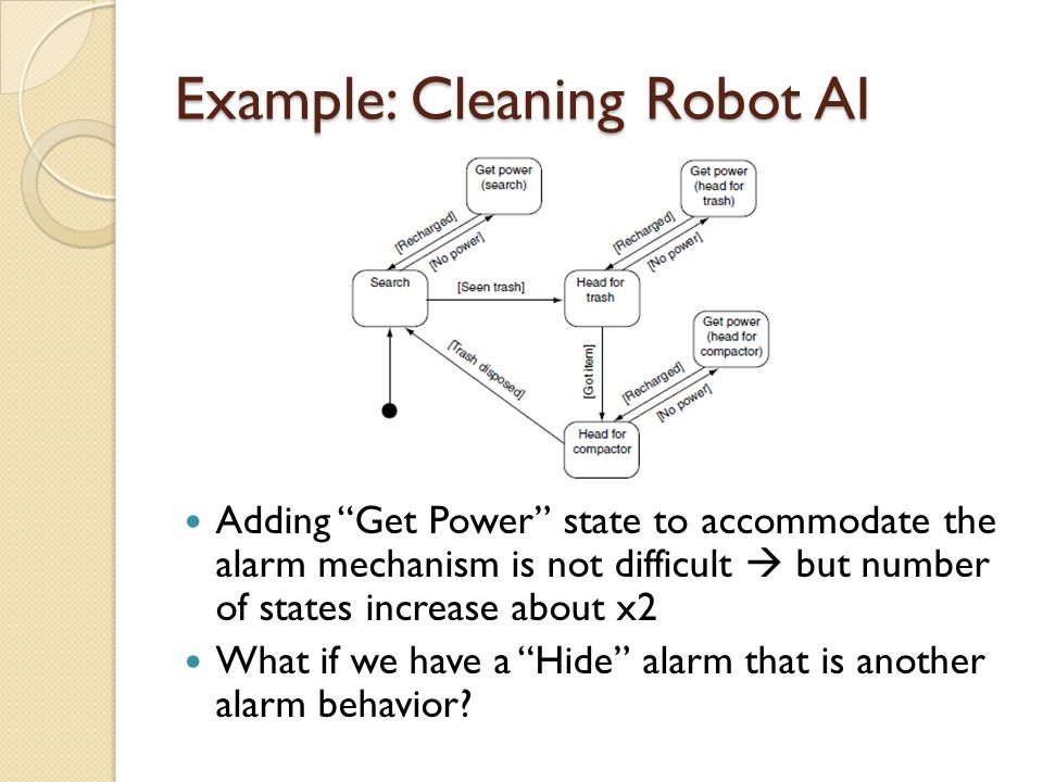 Example: Cleaning Robot AI Adding Get Power state to accommodate the alarm mechanism is not difficult but number of states increase about x2 What if we have a Hide alarm that is another alarm behavior