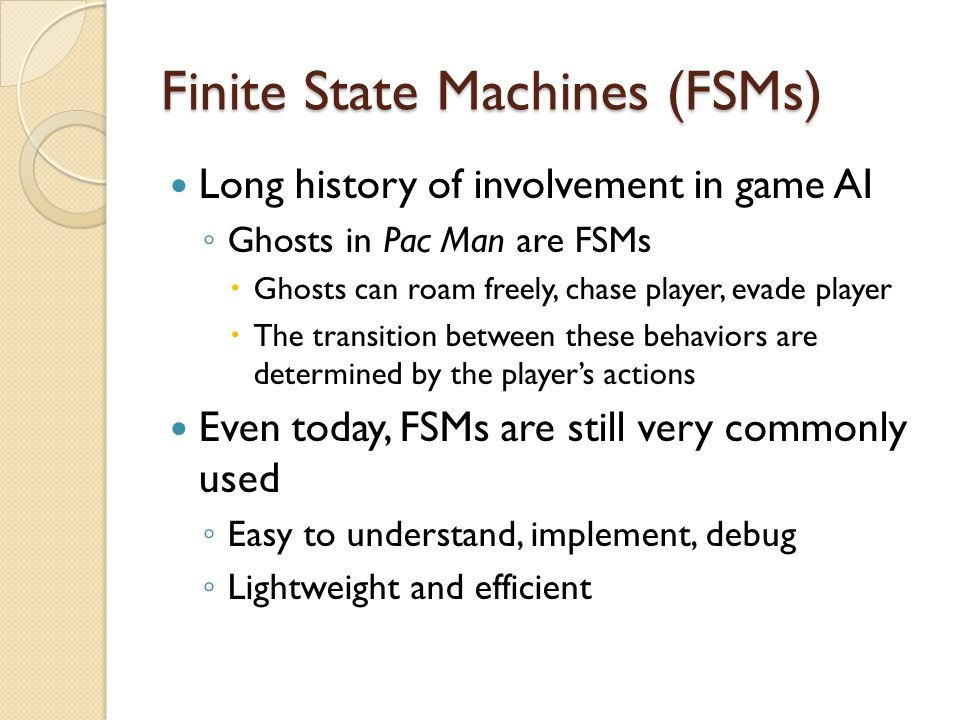 Hierarchical State Machine It is possible to implement both FSMs separately, but a lot of switching between the two is required implementation inefficiency Nested hierarchy: We are in more than one state at a time (on different levels), just keep track of multiple levels of states