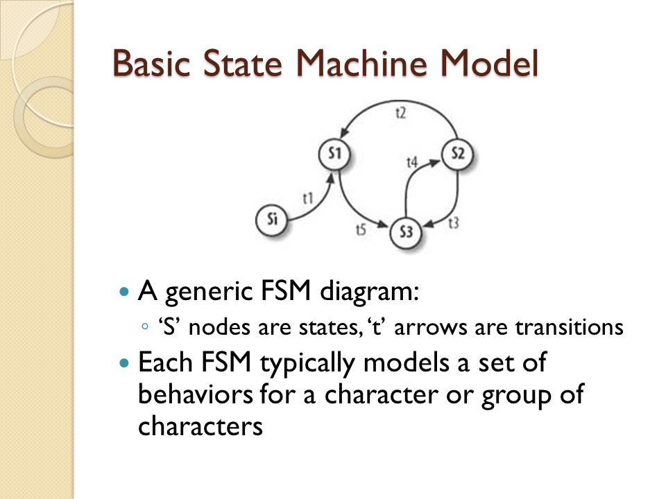 Basic State Machine Model A generic FSM diagram: S nodes are states, t arrows are transitions Each FSM typically models a set of behaviors for a character or group of characters