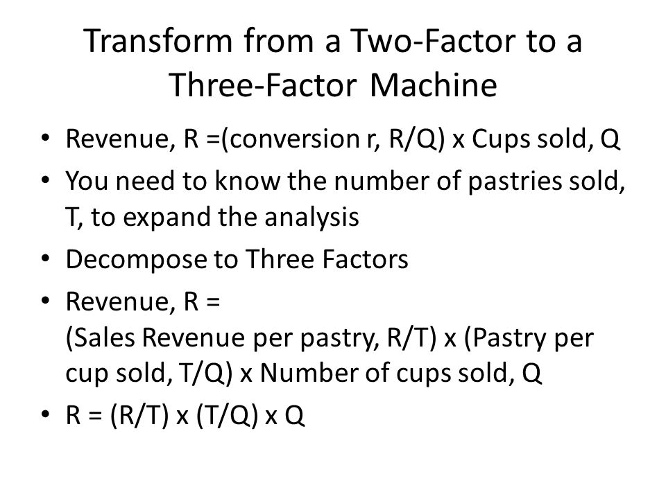 Transform from a Two-Factor to a Three-Factor Machine Revenue, R =(conversion r, R/Q) x Cups sold, Q You need to know the number of pastries sold, T, to expand the analysis Decompose to Three Factors Revenue, R = (Sales Revenue per pastry, R/T) x (Pastry per cup sold, T/Q) x Number of cups sold, Q R = (R/T) x (T/Q) x Q