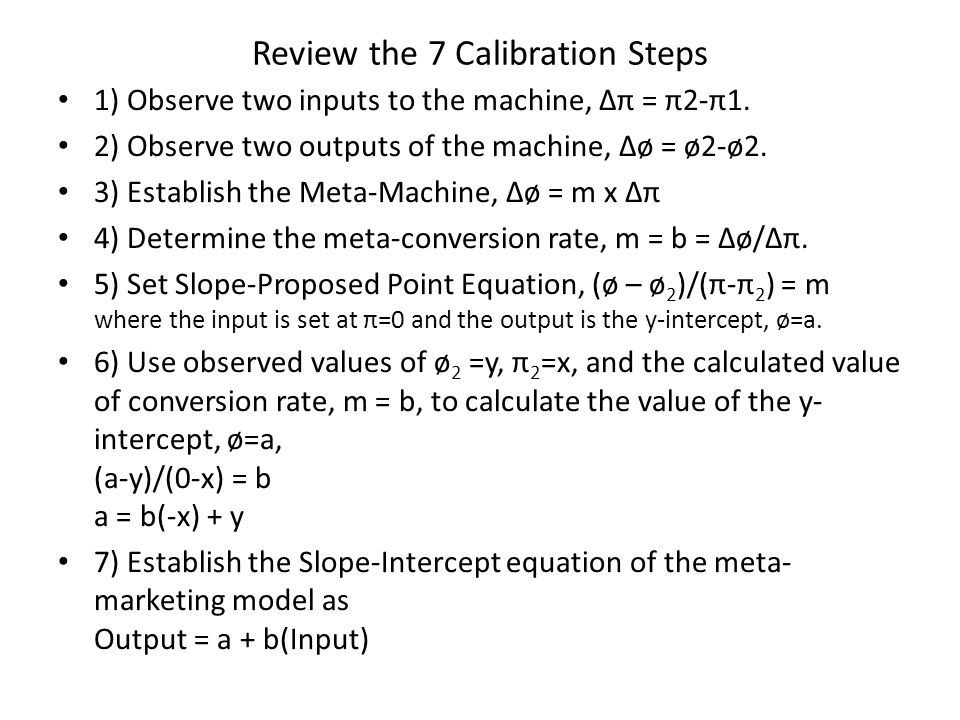 Review the 7 Calibration Steps 1) Observe two inputs to the machine, π = π2-π1.