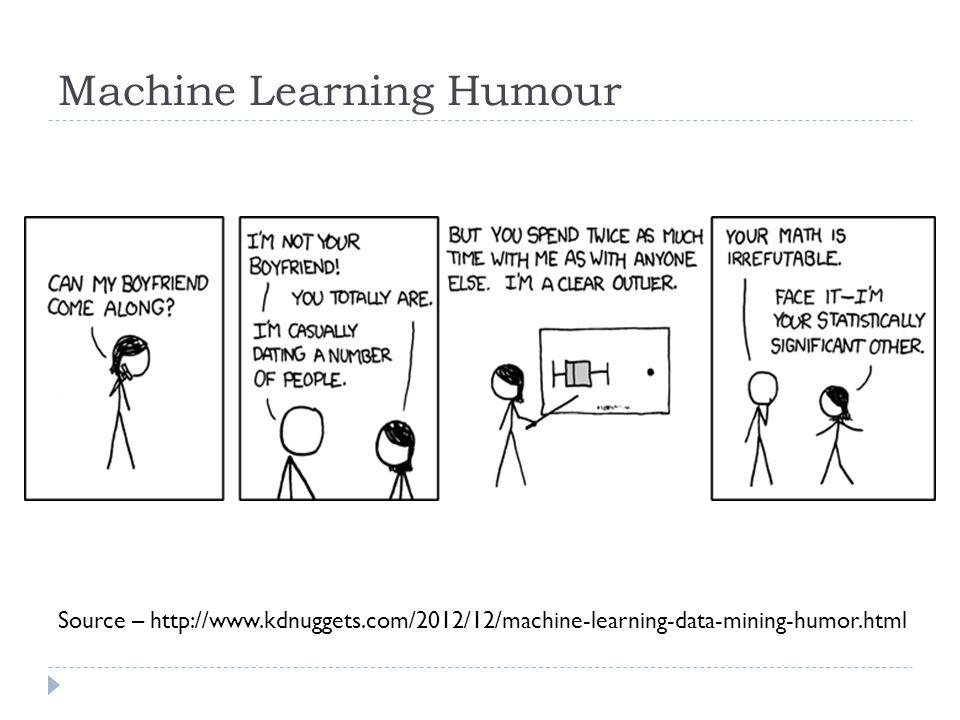 Machine Learning Humour Source – http://www.kdnuggets.com/2012/12/machine-learning-data-mining-humor.html