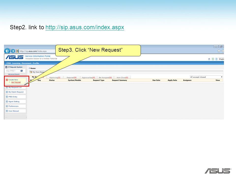 Step2. link to http://sip.asus.com/index.aspxhttp://sip.asus.com/index.aspx Step3. Click New Request