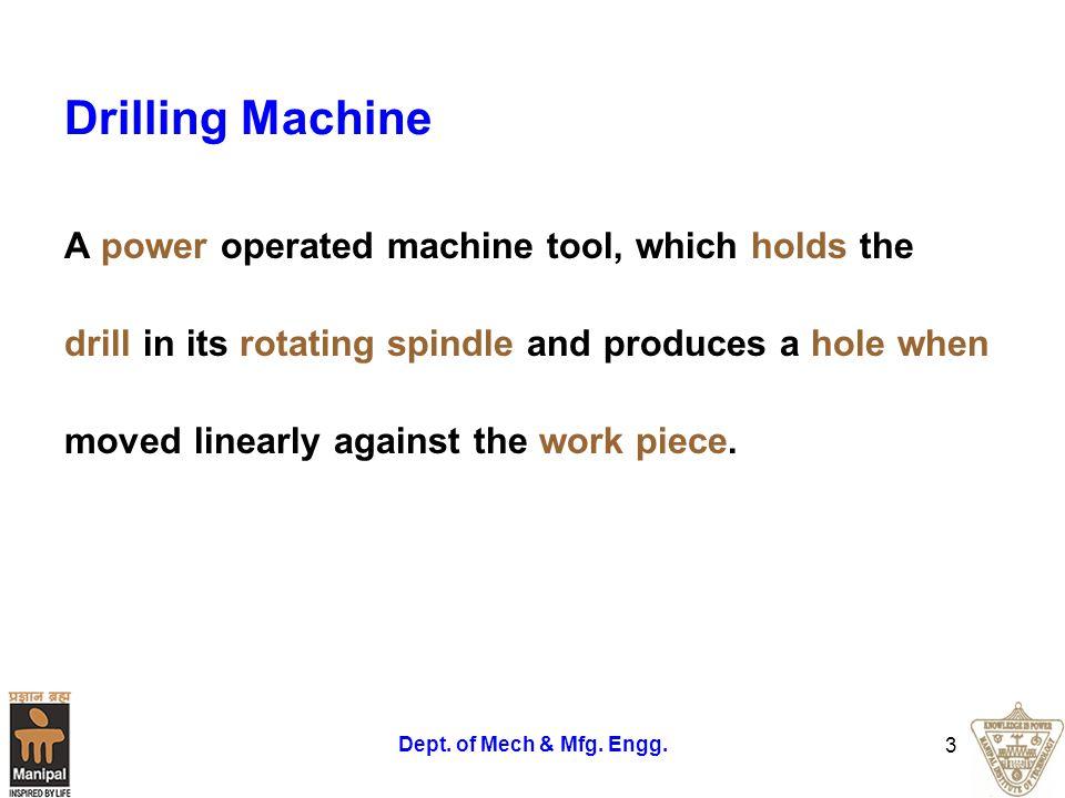 Dept. of Mech & Mfg. Engg. 4 Twist Drill