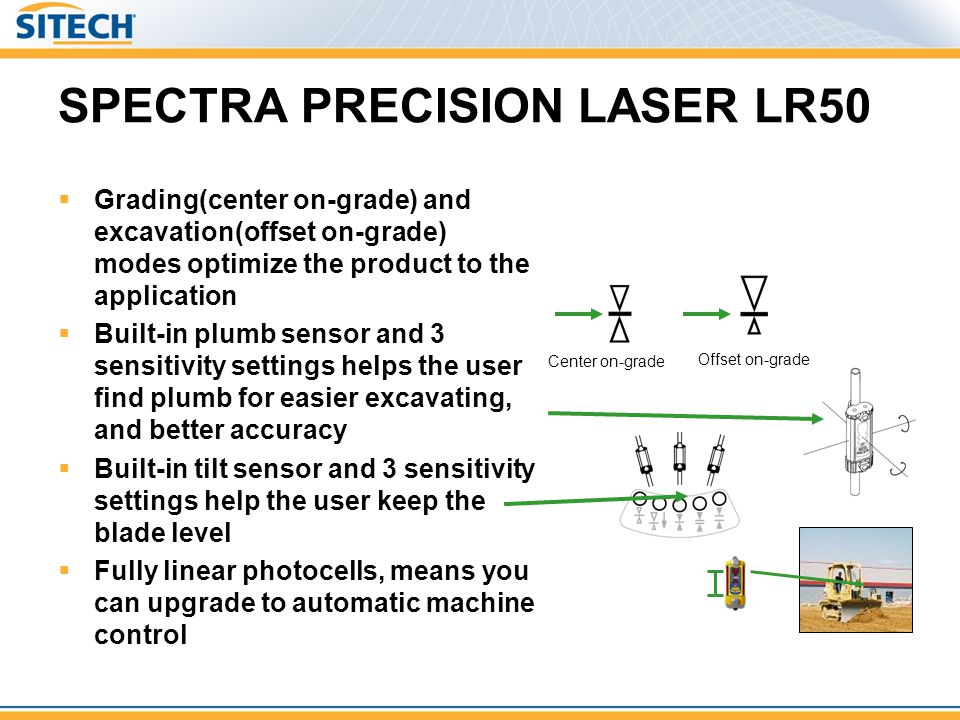 SPECTRA PRECISION LASER LR50 Grading(center on-grade) and excavation(offset on-grade) modes optimize the product to the application Built-in plumb sen