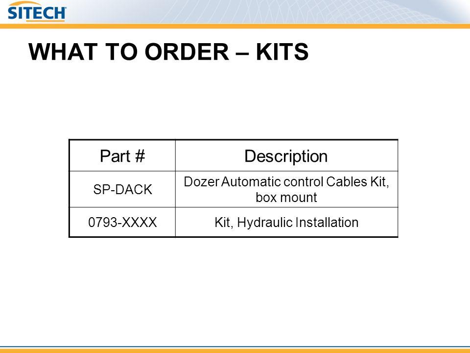 WHAT TO ORDER – KITS Part #Description SP-DACK Dozer Automatic control Cables Kit, box mount 0793-XXXXKit, Hydraulic Installation