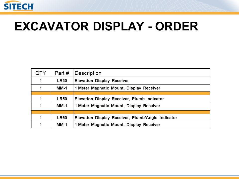 EXCAVATOR DISPLAY - ORDER QTYPart #Description 1LR30Elevation Display Receiver 1MM-11 Meter Magnetic Mount, Display Receiver 1LR50Elevation Display Re