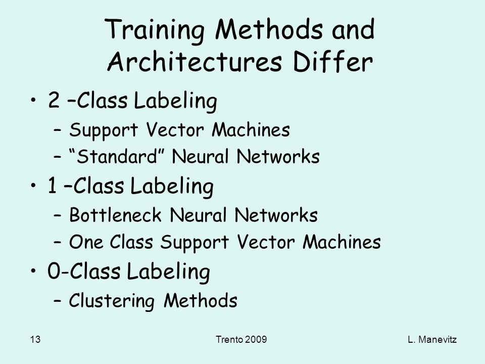 L. ManevitzTrento 2009 13 Training Methods and Architectures Differ 2 –Class Labeling –Support Vector Machines –Standard Neural Networks 1 –Class Labe