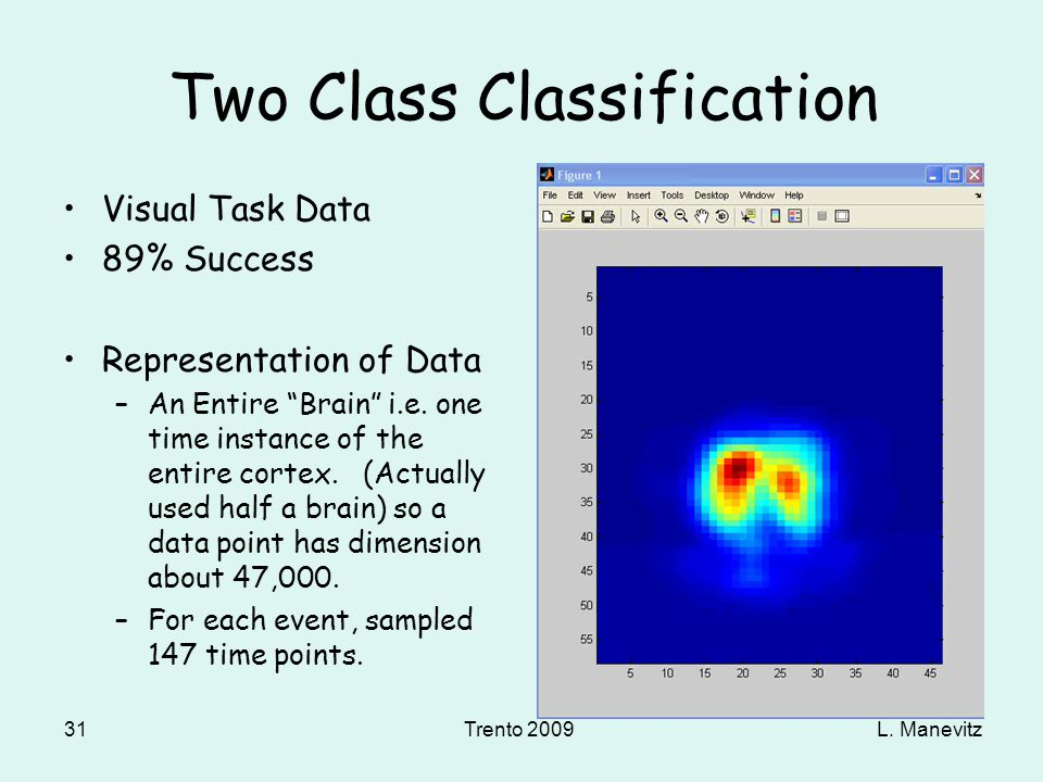 L. ManevitzTrento 2009 31 Two Class Classification Visual Task Data 89% Success Representation of Data –An Entire Brain i.e. one time instance of the