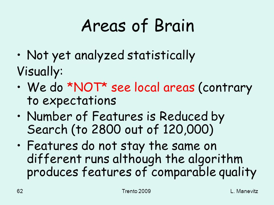 L. ManevitzTrento 2009 62 Areas of Brain Not yet analyzed statistically Visually: We do *NOT* see local areas (contrary to expectations Number of Feat