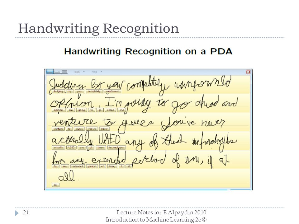 Handwriting Recognition Lecture Notes for E Alpaydın 2010 Introduction to Machine Learning 2e © The MIT Press (V1.0) 21