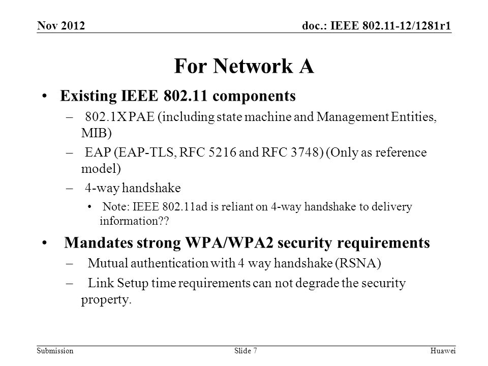 doc.: IEEE 802.11-12/1281r1 Submission For Network A Existing IEEE 802.11 components – 802.1X PAE (including state machine and Management Entities, MI