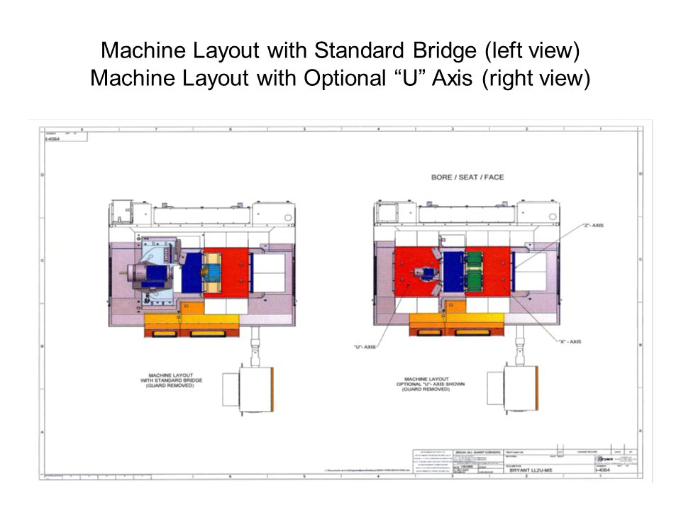 Machine Layout with Standard Bridge (left view) Machine Layout with Optional U Axis (right view)