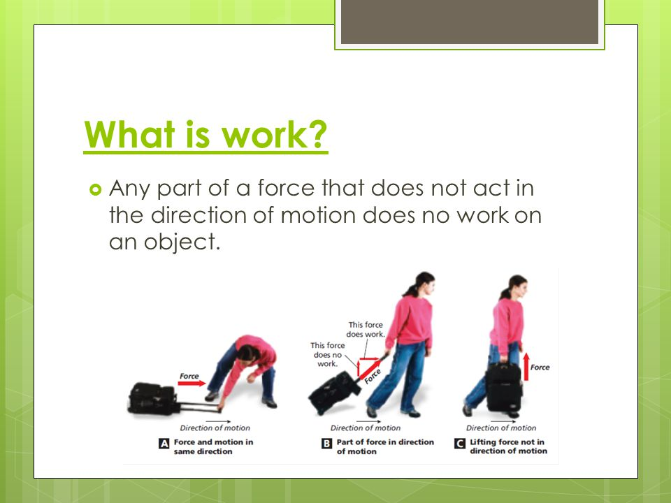 Calculating Work Work = Force [N] x Distance [m] As the distance increases, what happens to the amount of work being done.