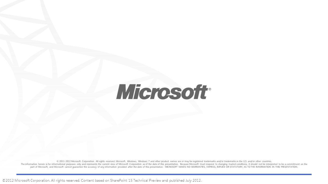 ©2012 Microsoft Corporation. All rights reserved.