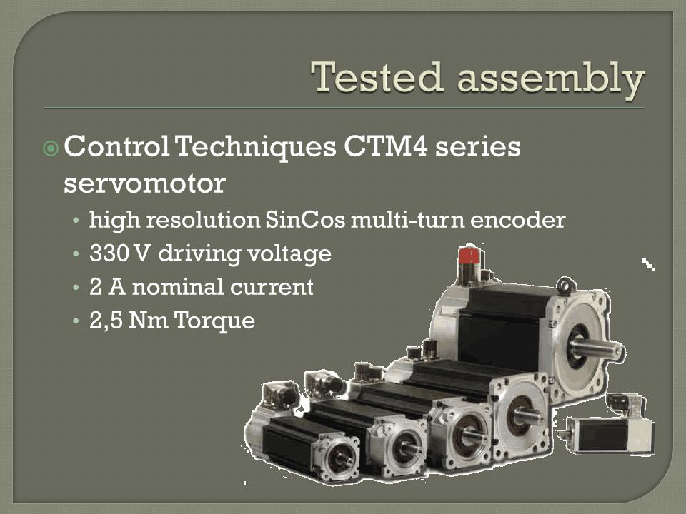 Control Techniques CTM4 series servomotor high resolution SinCos multi-turn encoder 330 V driving voltage 2 A nominal current 2,5 Nm Torque