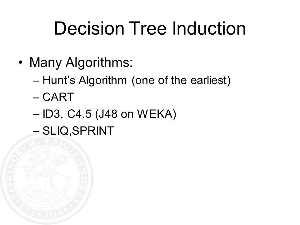 Decision Tree Induction Many Algorithms: –Hunts Algorithm (one of the earliest) –CART –ID3, C4.5 (J48 on WEKA) –SLIQ,SPRINT