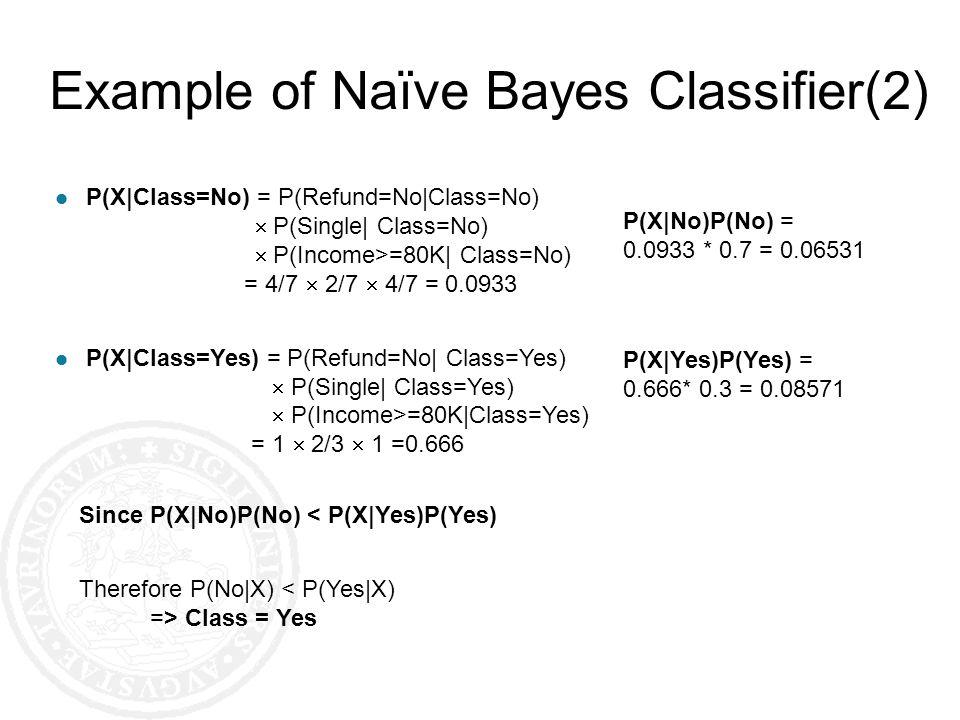 l P(X|Class=No) = P(Refund=No|Class=No) P(Single| Class=No) P(Income>=80K| Class=No) = 4/7 2/7 4/7 = 0.0933 l P(X|Class=Yes) = P(Refund=No| Class=Yes)