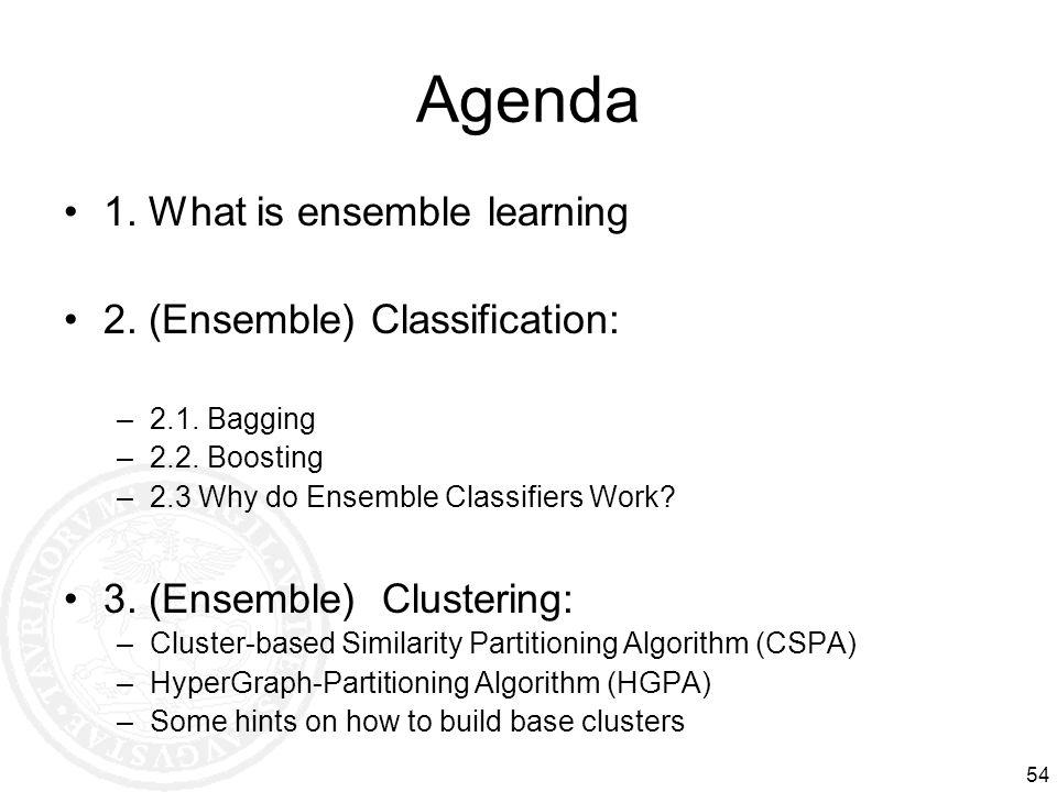 54 Agenda 1. What is ensemble learning 2. (Ensemble) Classification: –2.1. Bagging –2.2. Boosting –2.3 Why do Ensemble Classifiers Work? 3. (Ensemble)