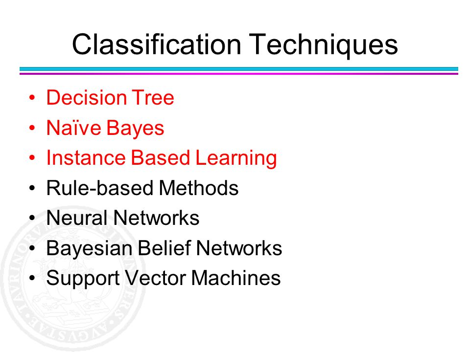 Classification Techniques Decision Tree Naïve Bayes Instance Based Learning Rule-based Methods Neural Networks Bayesian Belief Networks Support Vector