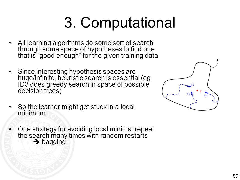 87 3. Computational All learning algorithms do some sort of search through some space of hypotheses to find one that is good enough for the given trai