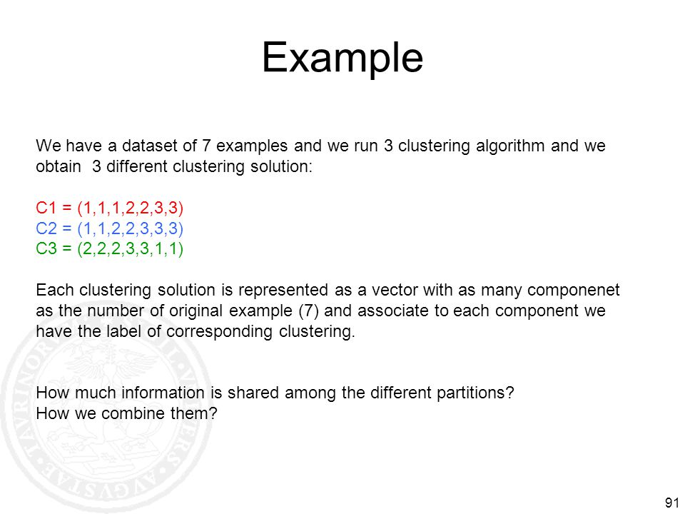 Example 91 We have a dataset of 7 examples and we run 3 clustering algorithm and we obtain 3 different clustering solution: C1 = (1,1,1,2,2,3,3) C2 =