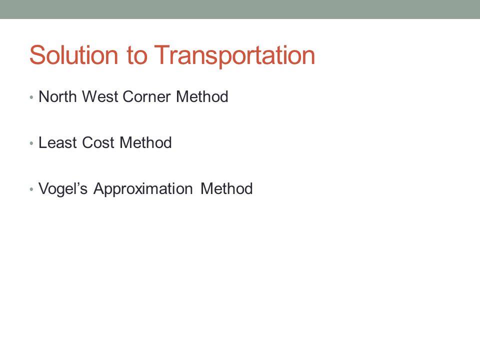 Solution to Transportation North West Corner Method Least Cost Method Vogels Approximation Method