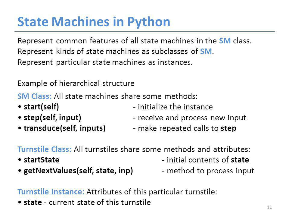 State Machines in Python Represent common features of all state machines in the SM class.