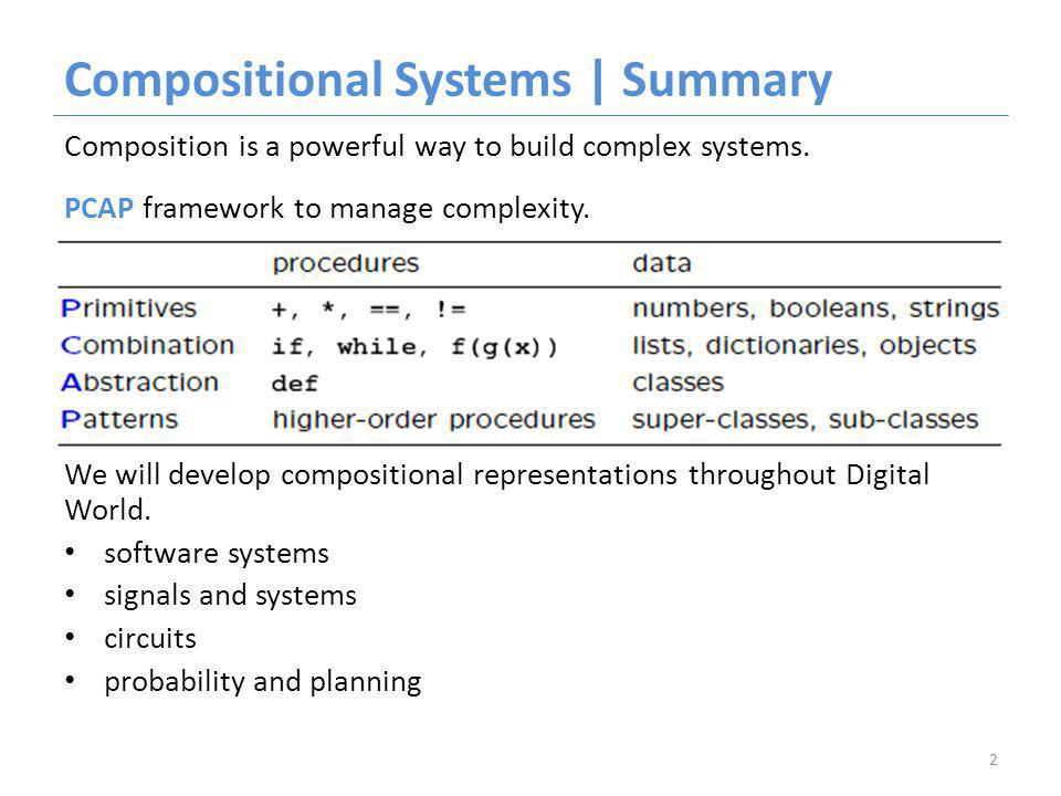 Compositional Systems | Summary Composition is a powerful way to build complex systems.