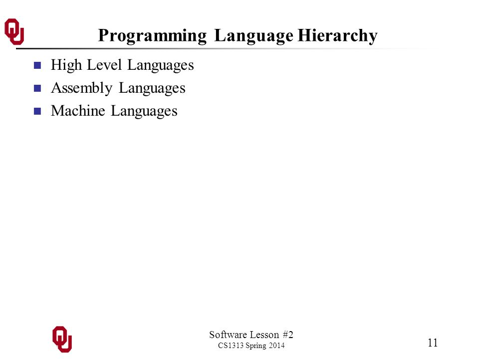 Software Lesson #2 CS1313 Spring 2014 11 Programming Language Hierarchy High Level Languages Assembly Languages Machine Languages