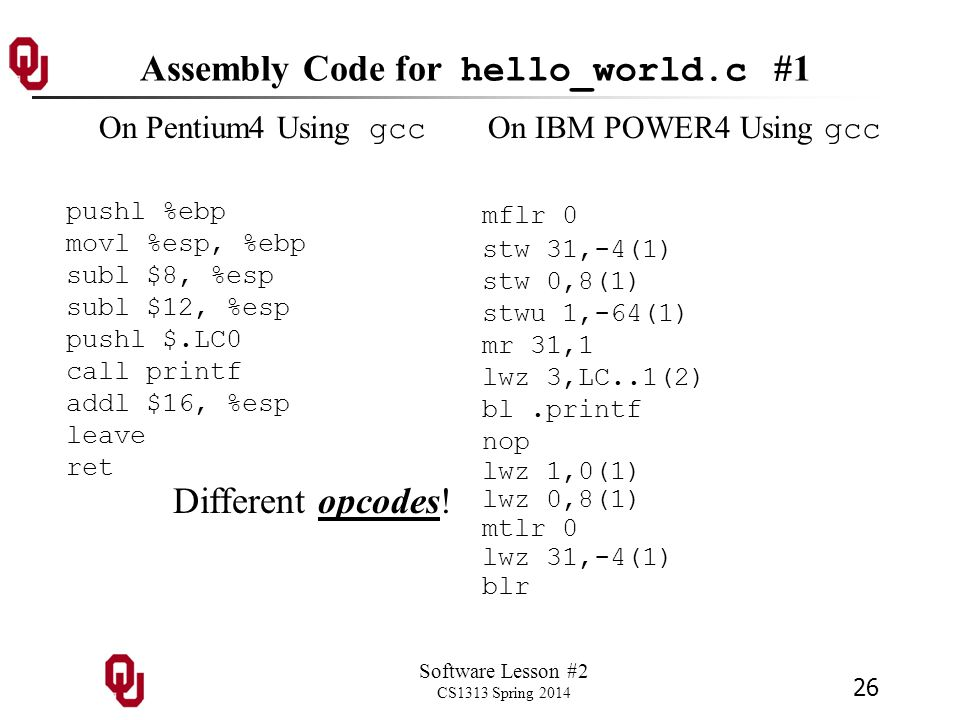 Software Lesson #2 CS1313 Spring 2014 26 Assembly Code for hello_world.c #1 On Pentium4 Using gcc pushl %ebp movl %esp, %ebp subl $8, %esp subl $12, %esp pushl $.LC0 call printf addl $16, %esp leave ret On IBM POWER4 Using gcc mflr 0 stw 31,-4(1) stw 0,8(1) stwu 1,-64(1) mr 31,1 lwz 3,LC..1(2) bl.printf nop lwz 1,0(1) lwz 0,8(1) mtlr 0 lwz 31,-4(1) blr Different opcodes!