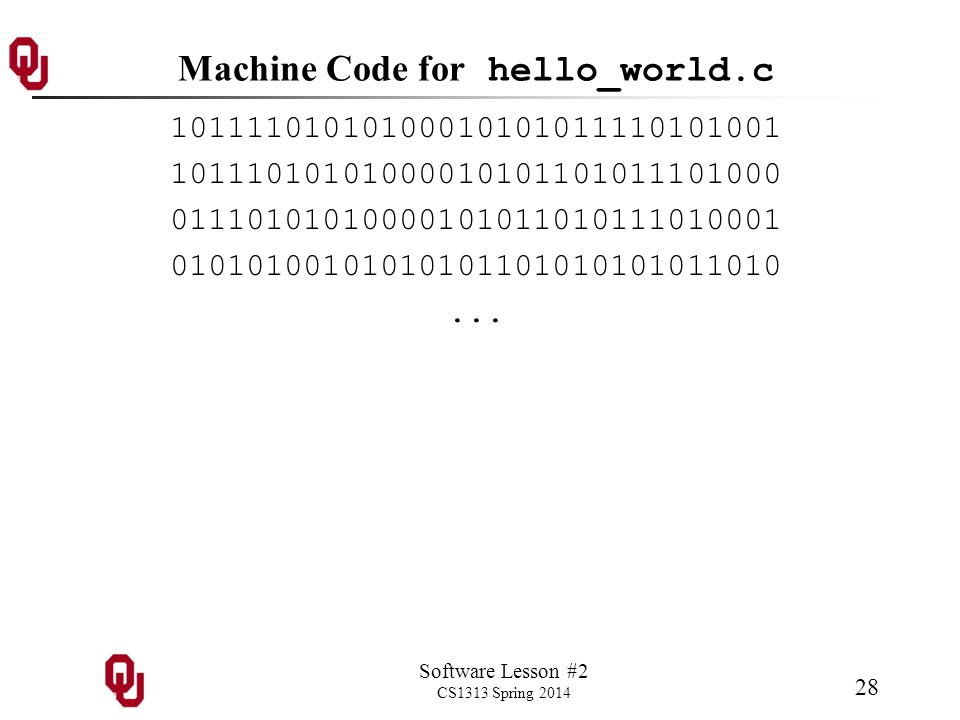 Software Lesson #2 CS1313 Spring 2014 28 Machine Code for hello_world.c 10111101010100010101011110101001 10111010101000010101101011101000 01110101010000101011010111010001 01010100101010101101010101011010...