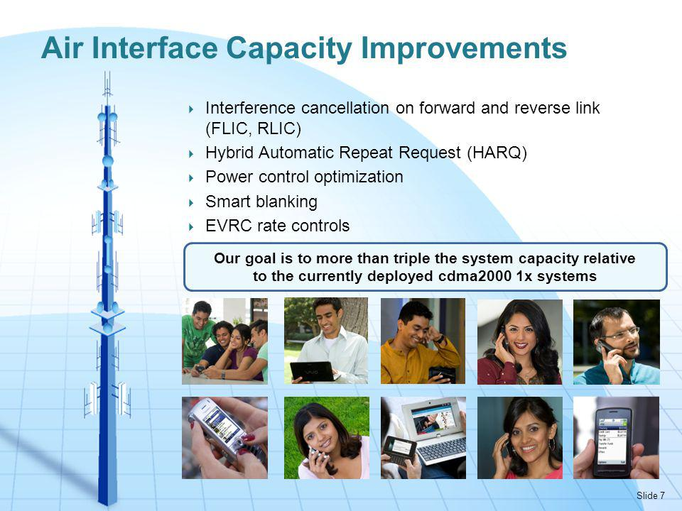 Interference cancellation on forward and reverse link (FLIC, RLIC) Hybrid Automatic Repeat Request (HARQ) Power control optimization Smart blanking EVRC rate controls Air Interface Capacity Improvements Our goal is to more than triple the system capacity relative to the currently deployed cdma2000 1x systems Slide 7
