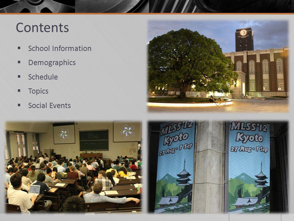 Contents School Information Demographics Schedule Topics Social Events
