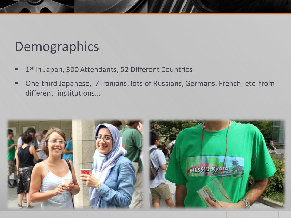 Demographics 1 st In Japan, 300 Attendants, 52 Different Countries One-third Japanese, 7 Iranians, lots of Russians, Germans, French, etc. from differ