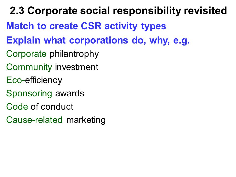Explain what corporations do, why, e.g.With a little help...