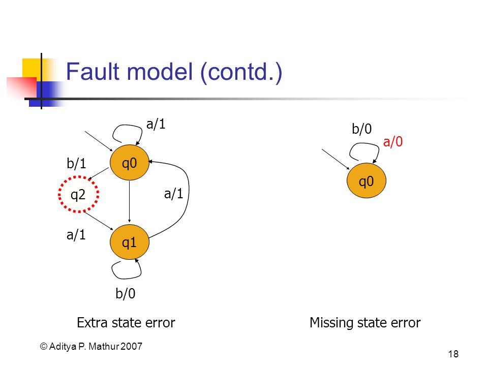 © Aditya P. Mathur 2007 18 Fault model (contd.) q0 a/0 b/0 Missing state error Extra state error q0 q1 a/1 b/0 b/1 a/1 q2 a/1