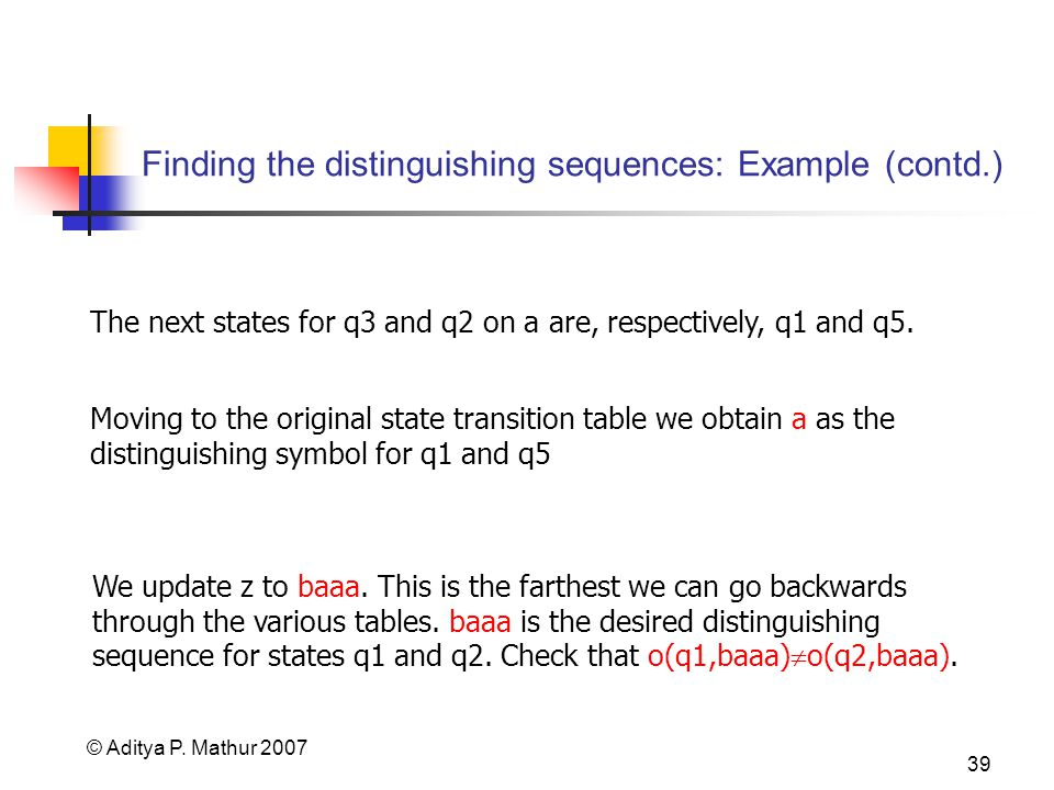 © Aditya P. Mathur 2007 39 Finding the distinguishing sequences: Example (contd.) The next states for q3 and q2 on a are, respectively, q1 and q5. Mov