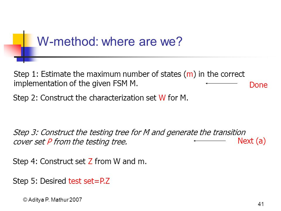 © Aditya P. Mathur 2007 41 W-method: where are we? Step 4: Construct set Z from W and m. Step 5: Desired test set=P.Z Step 1: Estimate the maximum num