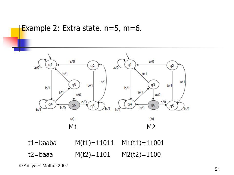 © Aditya P. Mathur 2007 51 Example 2: Extra state. n=5, m=6. M1M2 t1=baaba M(t1)=11011 M1(t1)=11001 t2=baaa M(t2)=1101 M2(t2)=1100