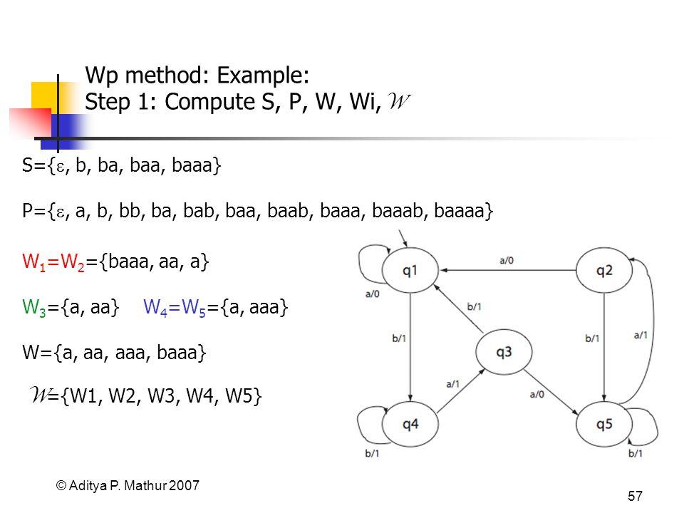 © Aditya P. Mathur 2007 57 Wp method: Example: Step 1: Compute S, P, W, Wi, W W 1 =W 2 ={baaa, aa, a} W 3 ={a, aa} W 4 =W 5 ={a, aaa} S={, b, ba, baa,