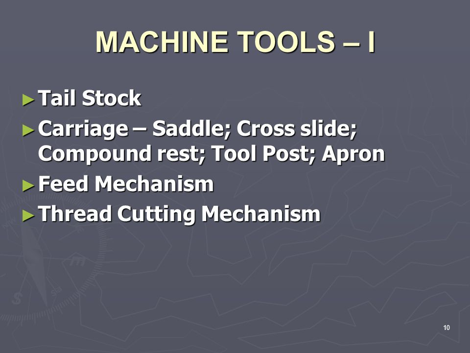 Tail Stock Tail Stock Carriage – Saddle; Cross slide; Compound rest; Tool Post; Apron Carriage – Saddle; Cross slide; Compound rest; Tool Post; Apron