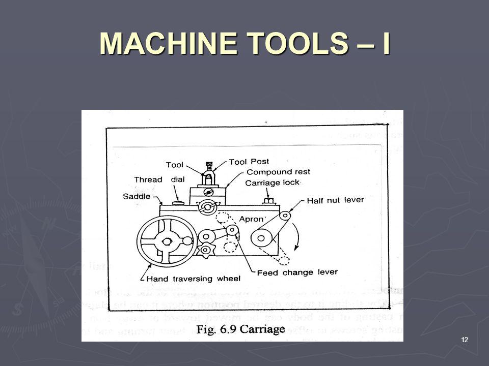 MACHINE TOOLS – I 12