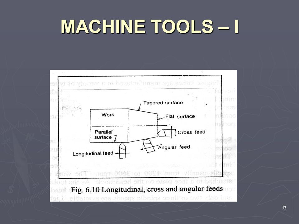MACHINE TOOLS – I 13 MACHINE TOOLS – I